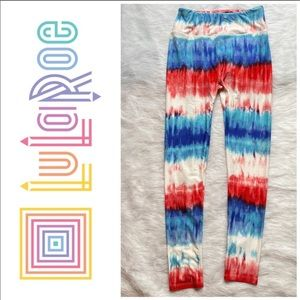 Lularoe tie dye look patriotic red white blue O/S